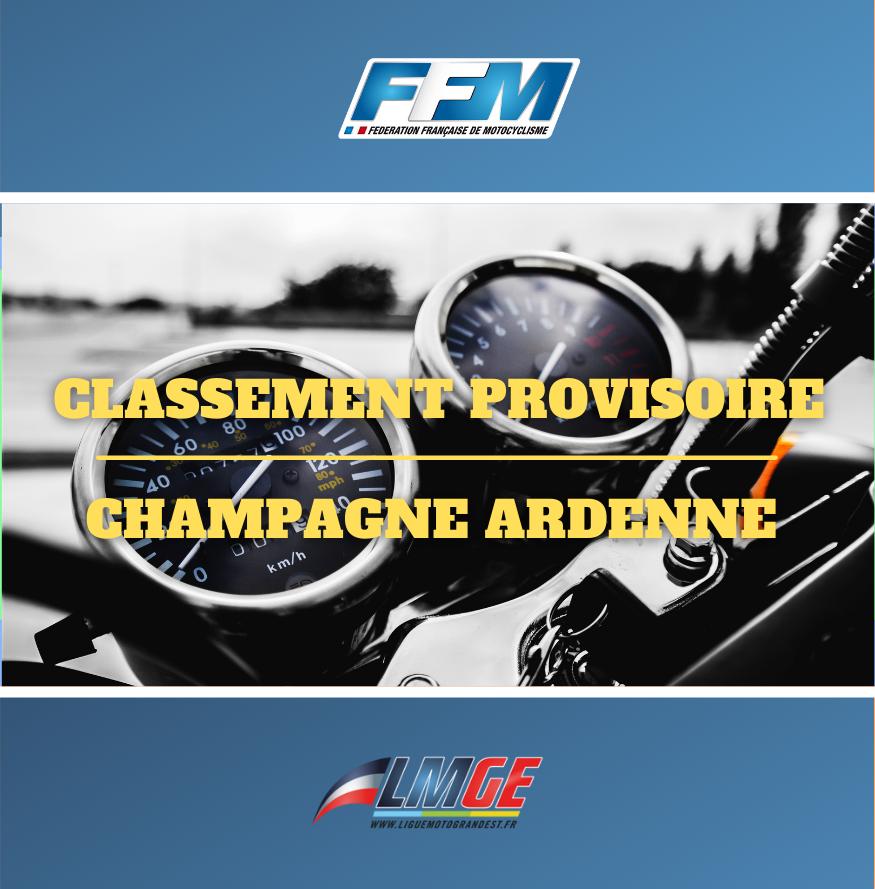 COURSE DE PRAIRIE – CLASSEMENTS PROVISOIRES CHAMPAGNE ARDENNE